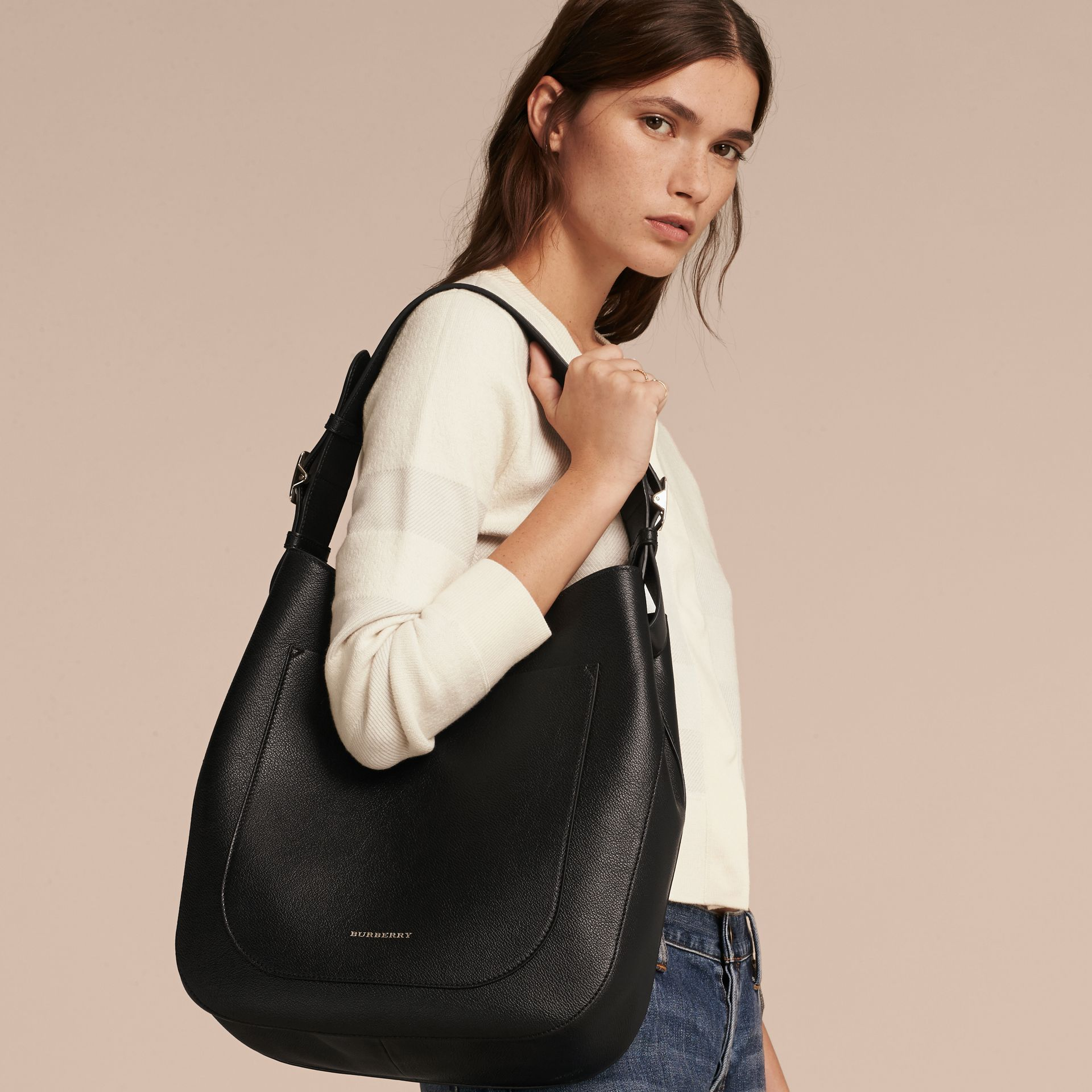 Textured Leather Shoulder Bag in Black - gallery image 3