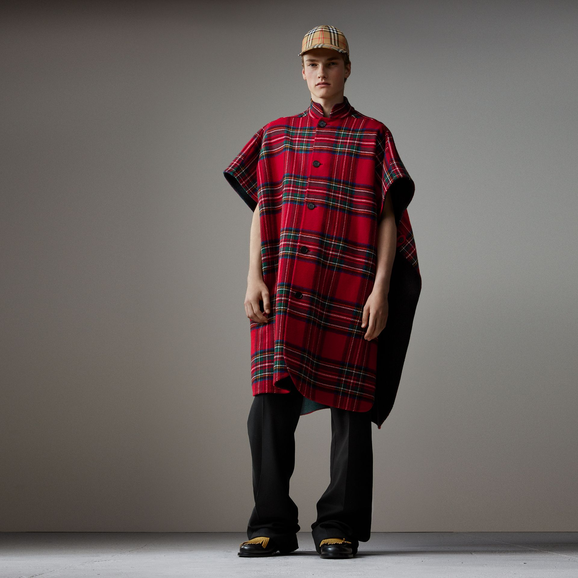 Reversible Tartan Wool Cashmere Poncho in Bright Red/dark Grey - Men | Burberry Canada - gallery image 0