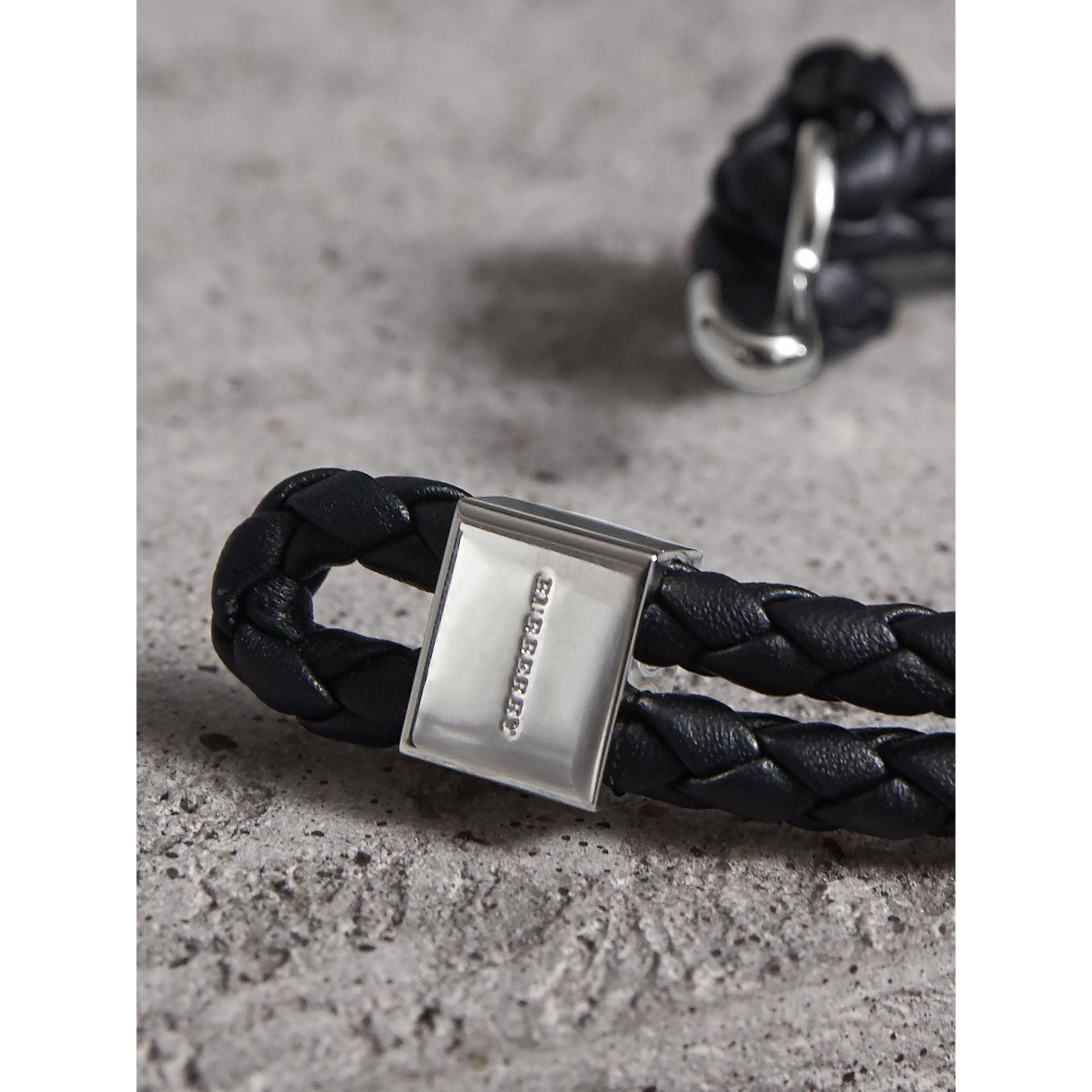 Braided Leather Bracelet in Black - Men | Burberry - gallery image 2