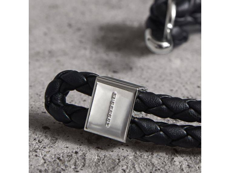 Braided Leather Bracelet in Black - Men | Burberry Singapore - cell image 1