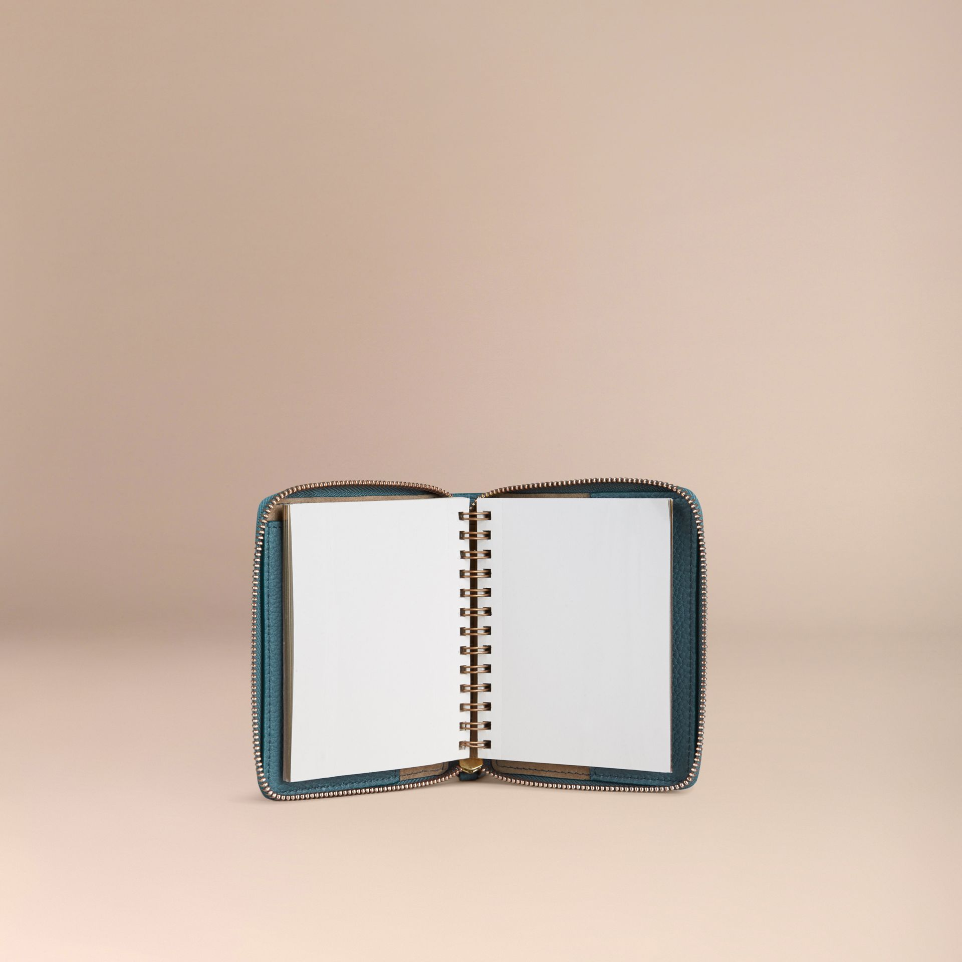 Ziparound Grainy Leather Mini Notebook in Dusty Teal - gallery image 3