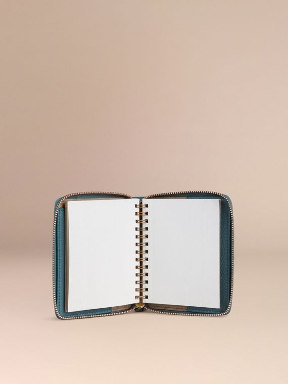 Ziparound Grainy Leather Mini Notebook in Dusty Teal | Burberry - cell image 2