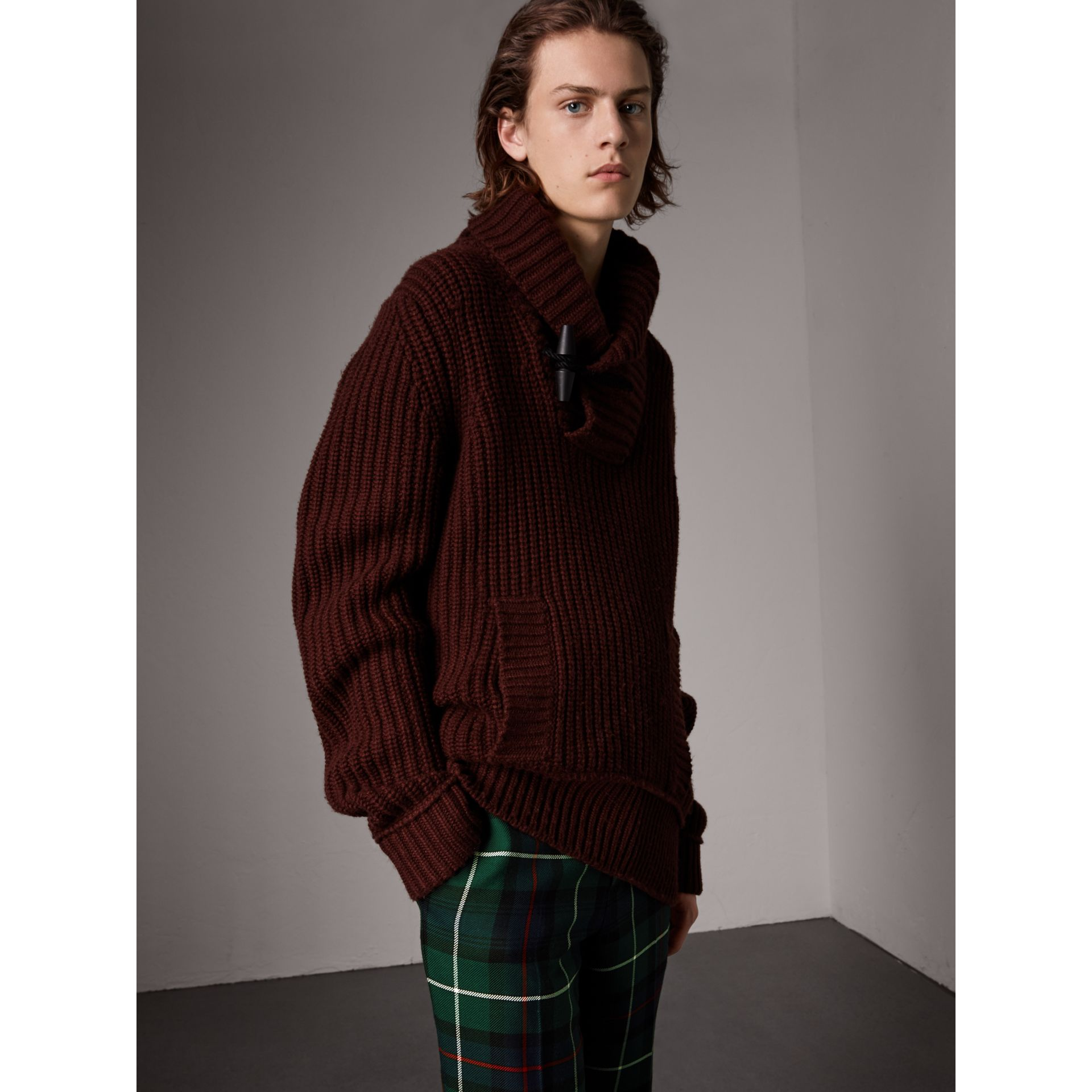 Shawl Collar Wool Cashmere Sweater in Mahogany Red - Men | Burberry - gallery image 1