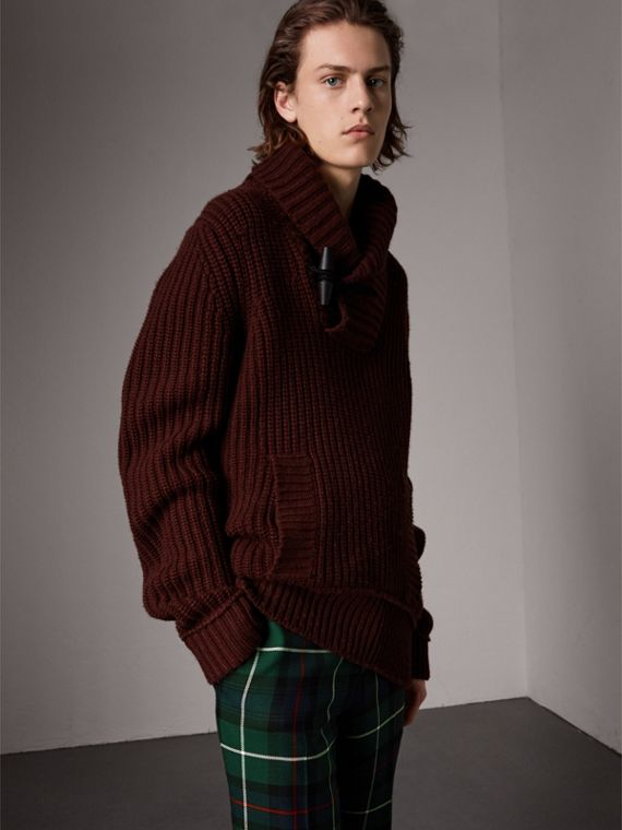 Shawl Collar Wool Cashmere Sweater in Mahogany Red