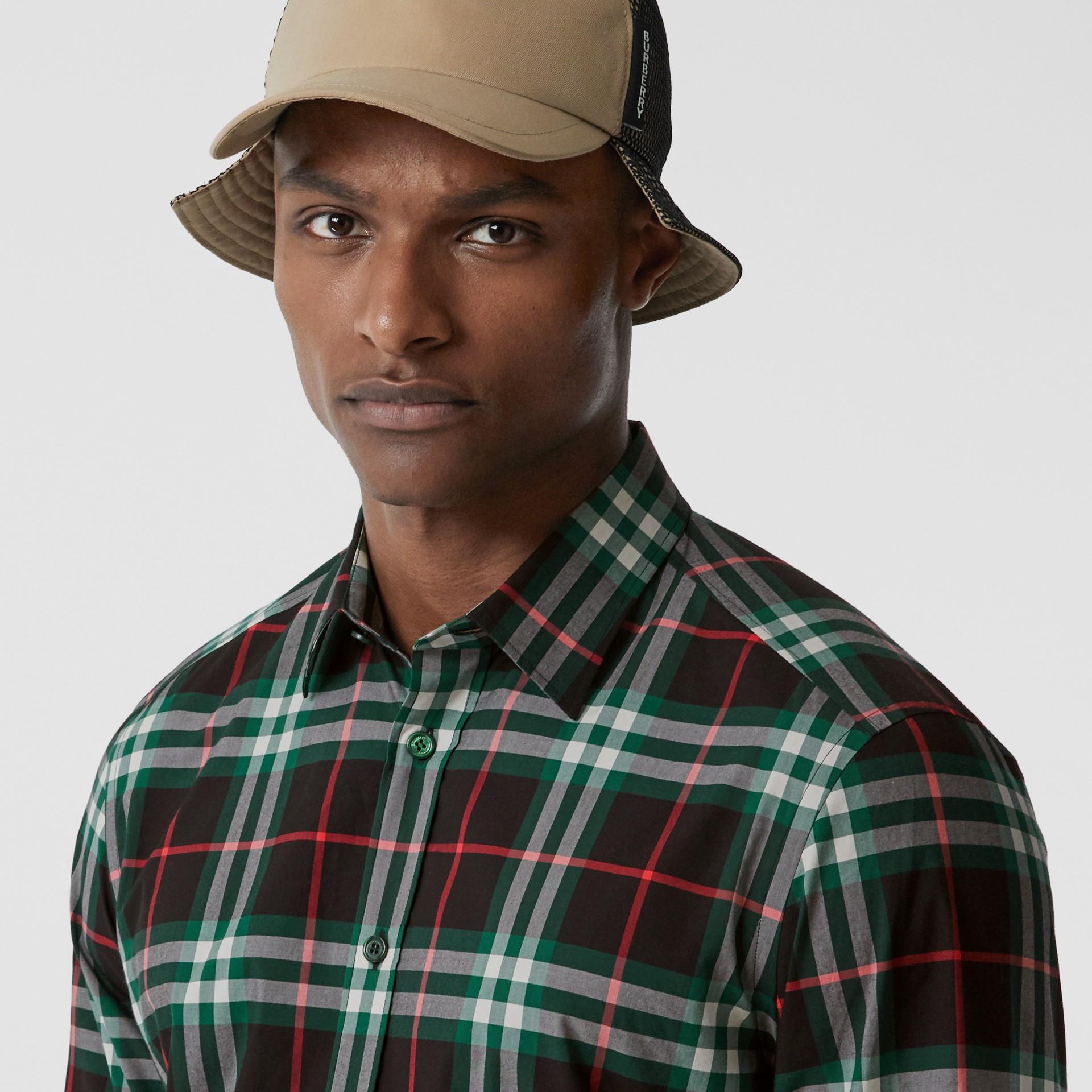 Check Cotton Poplin Shirt in Viridian Green - Men | Burberry - gallery image 1