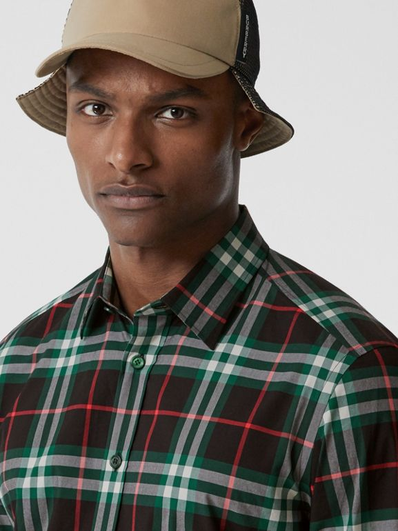 Check Cotton Poplin Shirt in Viridian Green - Men | Burberry - cell image 1