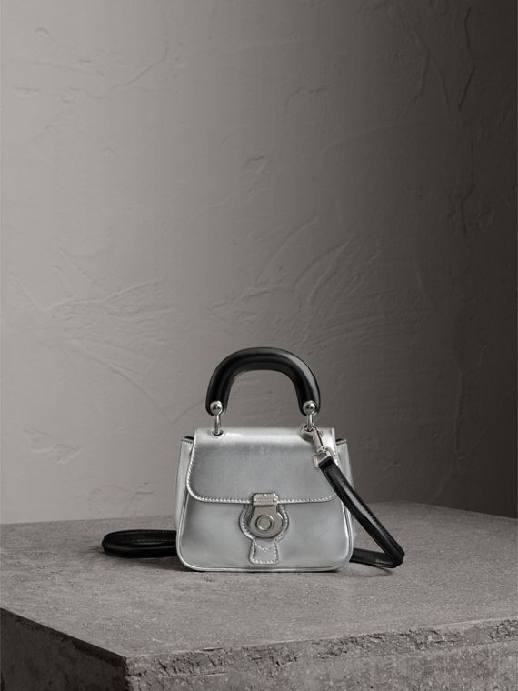 The Mini DK88 Top Handle Bag in Metallic Leather in Silver