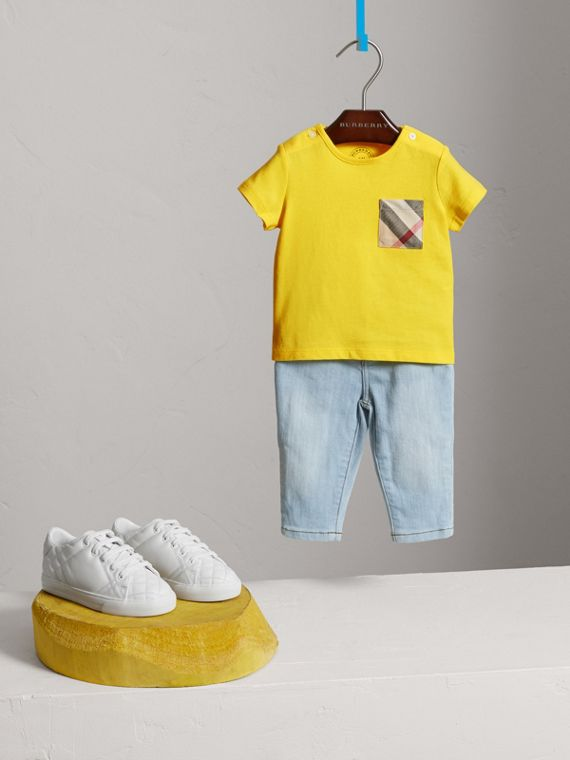 Check Pocket Cotton T-shirt in Bright Citrus Yellow