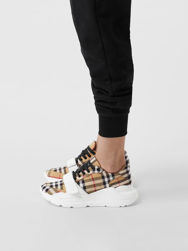 Vintage Check Cotton Sneakers in Antique Yellow - Women | Burberry United Kingdom - cell image 2