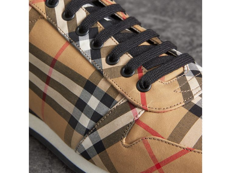 Vintage Check Cotton Trainers in Antique Yellow - Men | Burberry - cell image 1