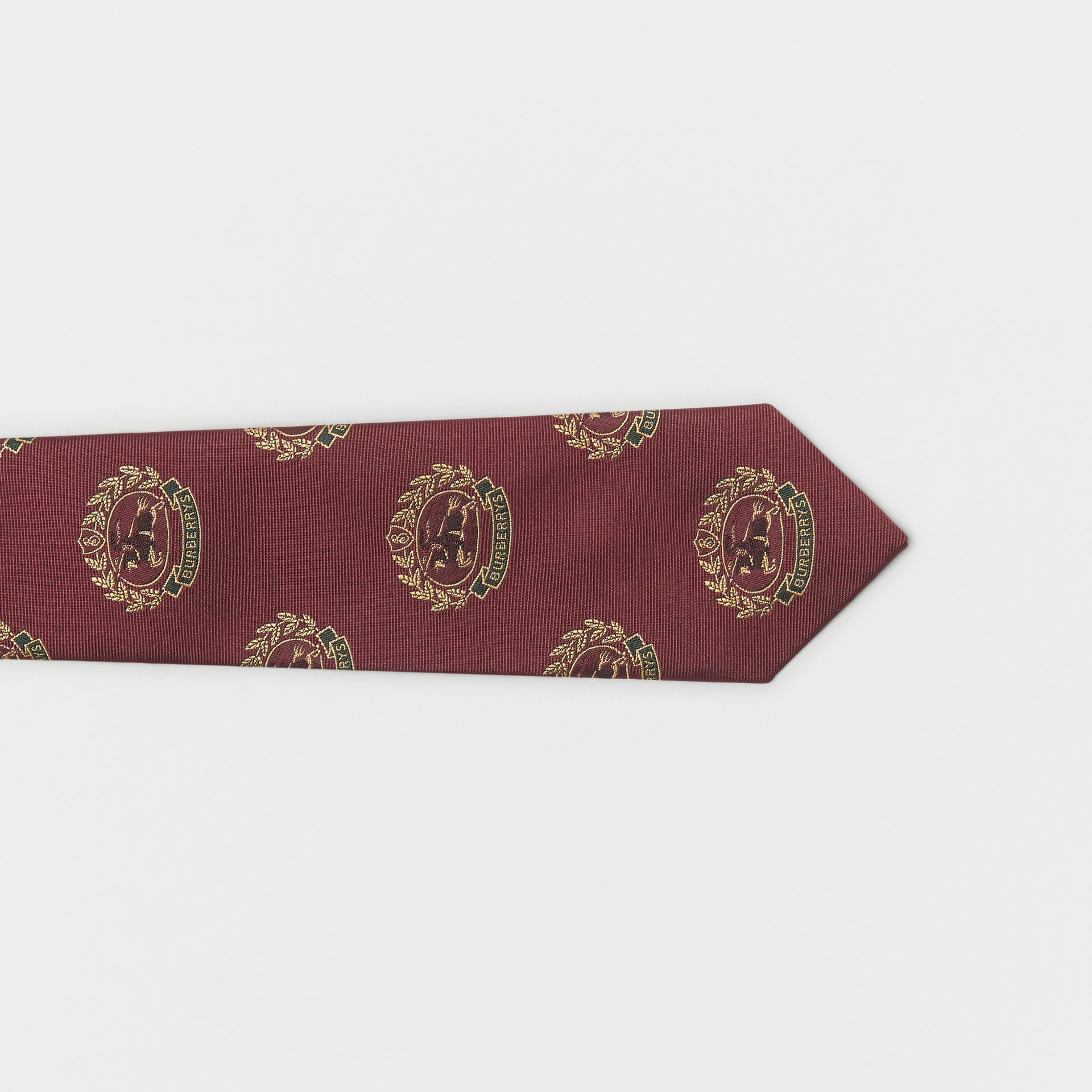 Slim Cut Archive Crest Silk Tie in Claret - Men | Burberry Australia - gallery image 1