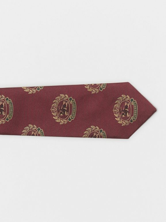 Slim Cut Archive Crest Silk Tie in Claret - Men | Burberry Australia - cell image 1