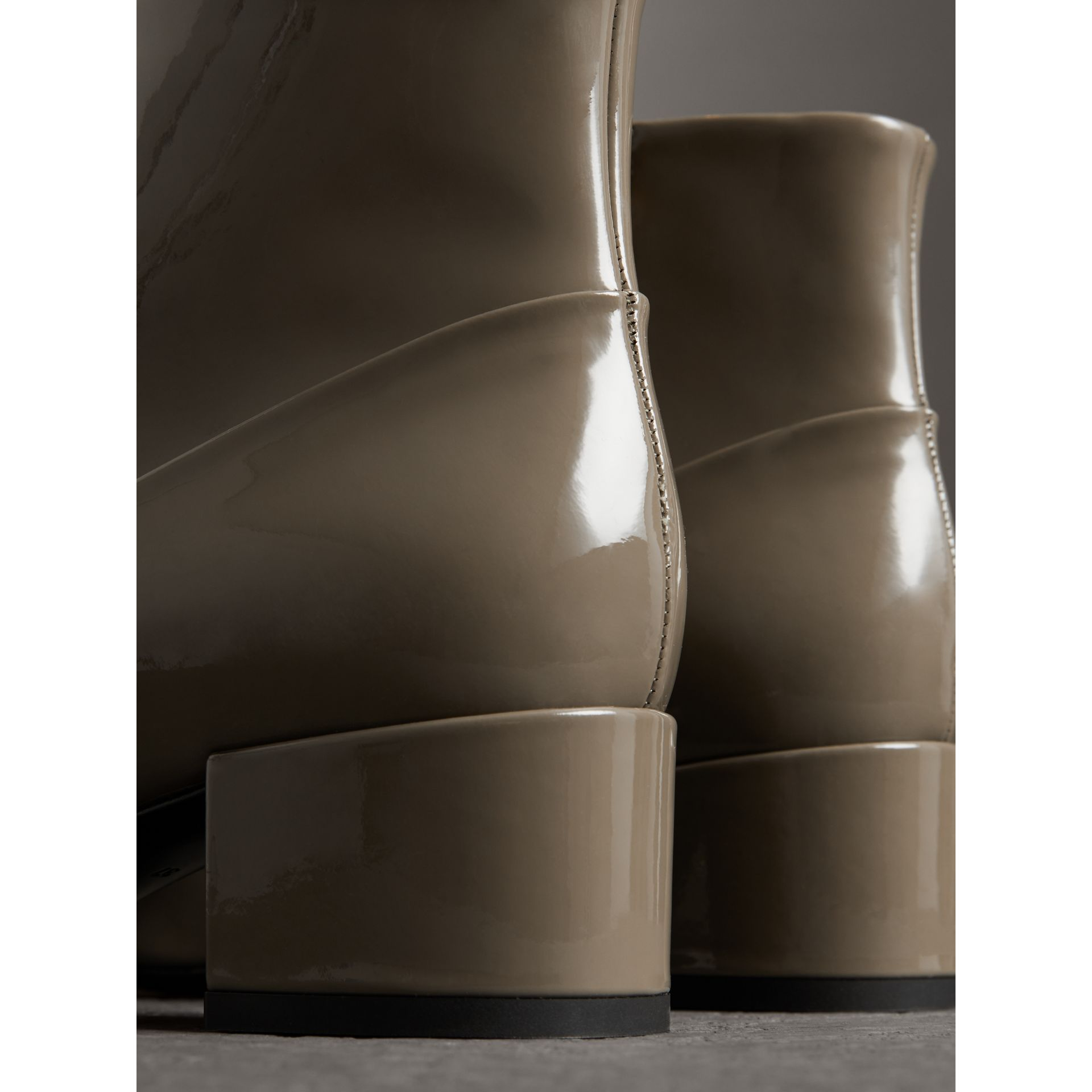 Link Detail Patent Leather Ankle Boots in Taupe Grey - Women | Burberry Canada - gallery image 3