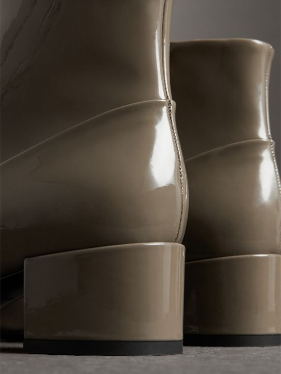 Link Detail Patent Leather Ankle Boots in Taupe Grey - Women | Burberry - cell image 3