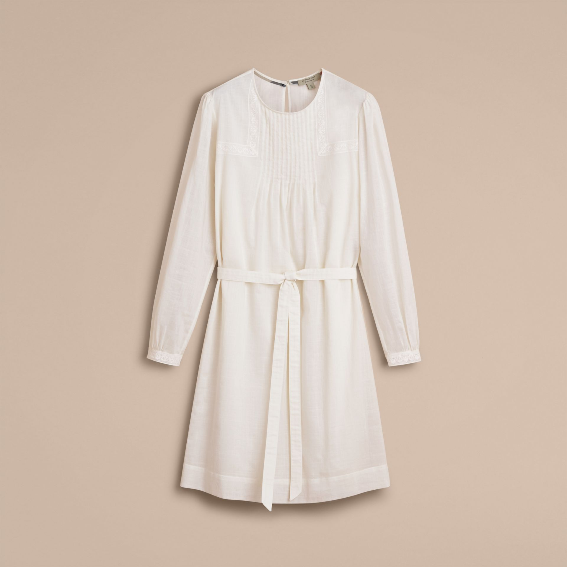 Pintuck and Lace Detail Cotton Dress in Natural White - Women | Burberry - gallery image 4