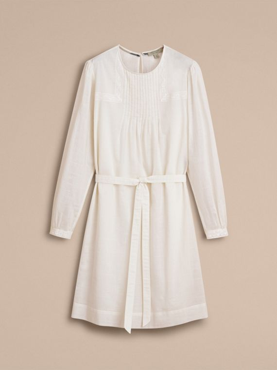 Pintuck and Lace Detail Cotton Dress in Natural White - Women | Burberry - cell image 3