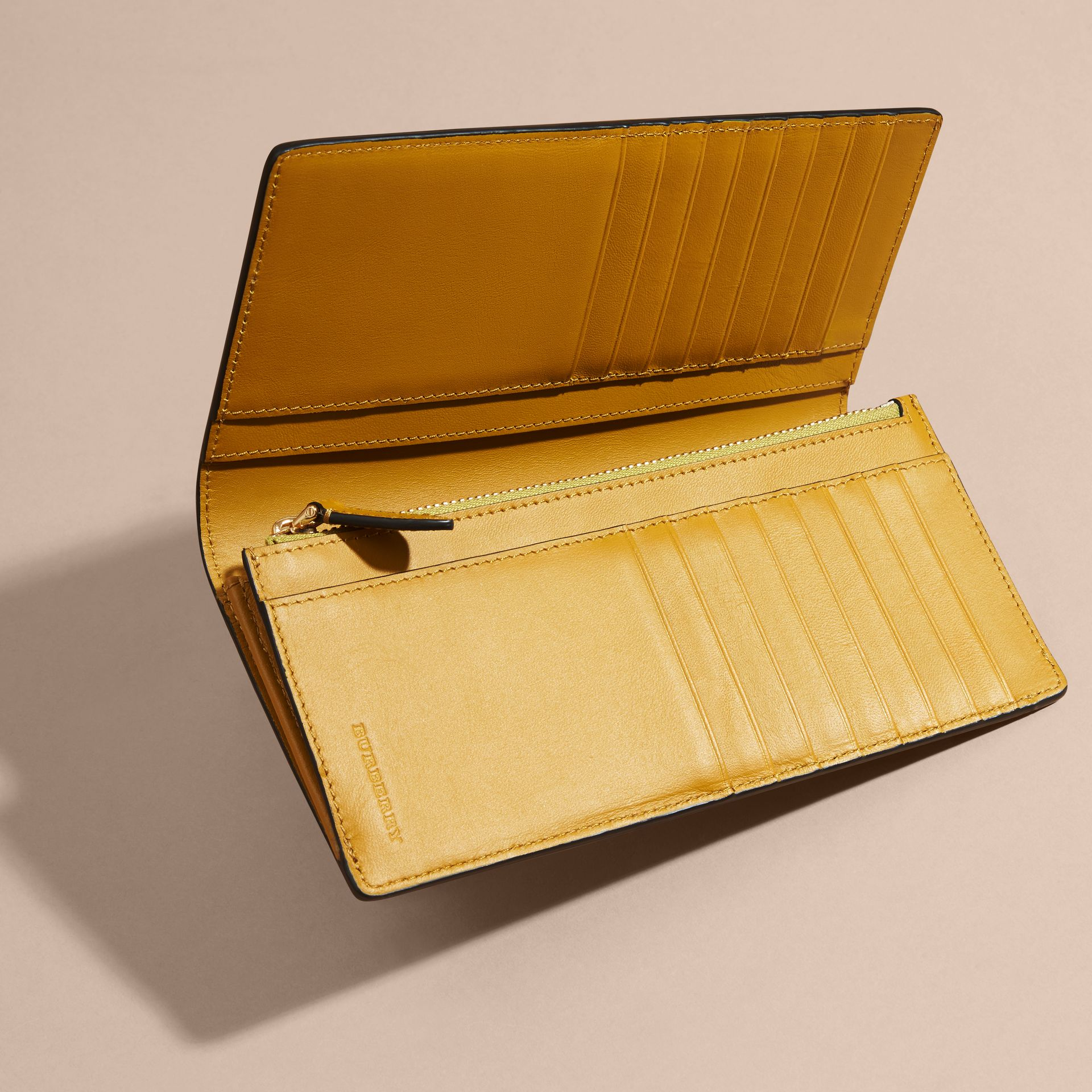 London Check and Leather Continental Wallet in Larch Yellow - gallery image 5
