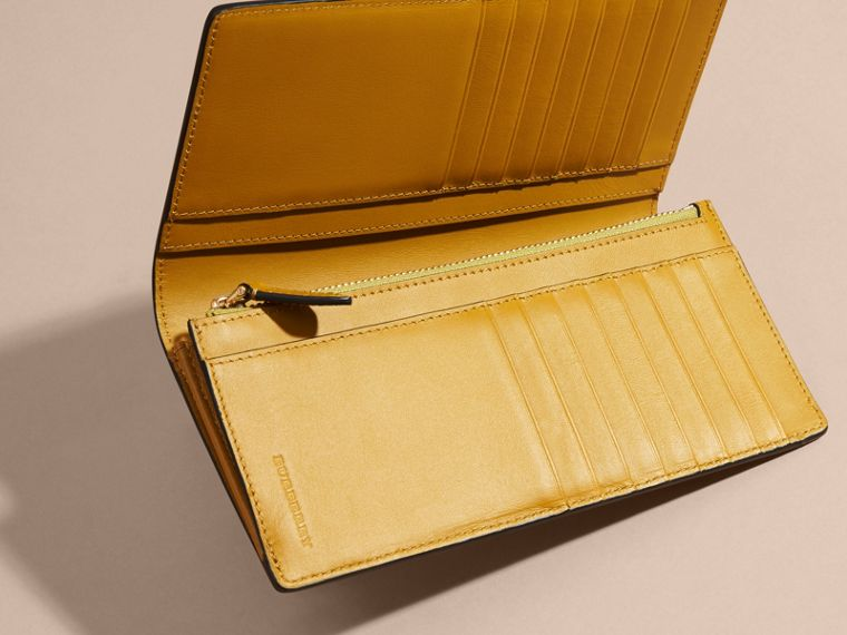 London Check and Leather Continental Wallet Larch Yellow - cell image 4