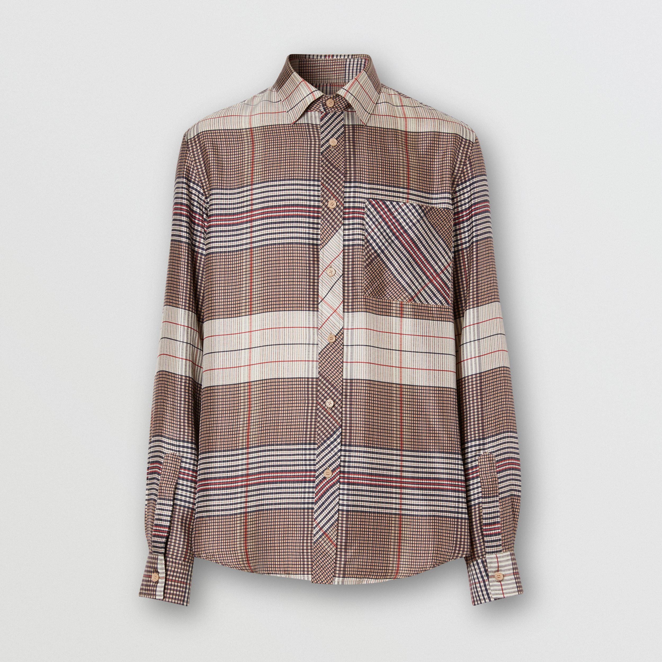 Classic Fit Contrast Check Silk Twill Shirt in Buttermilk - Men | Burberry - 4