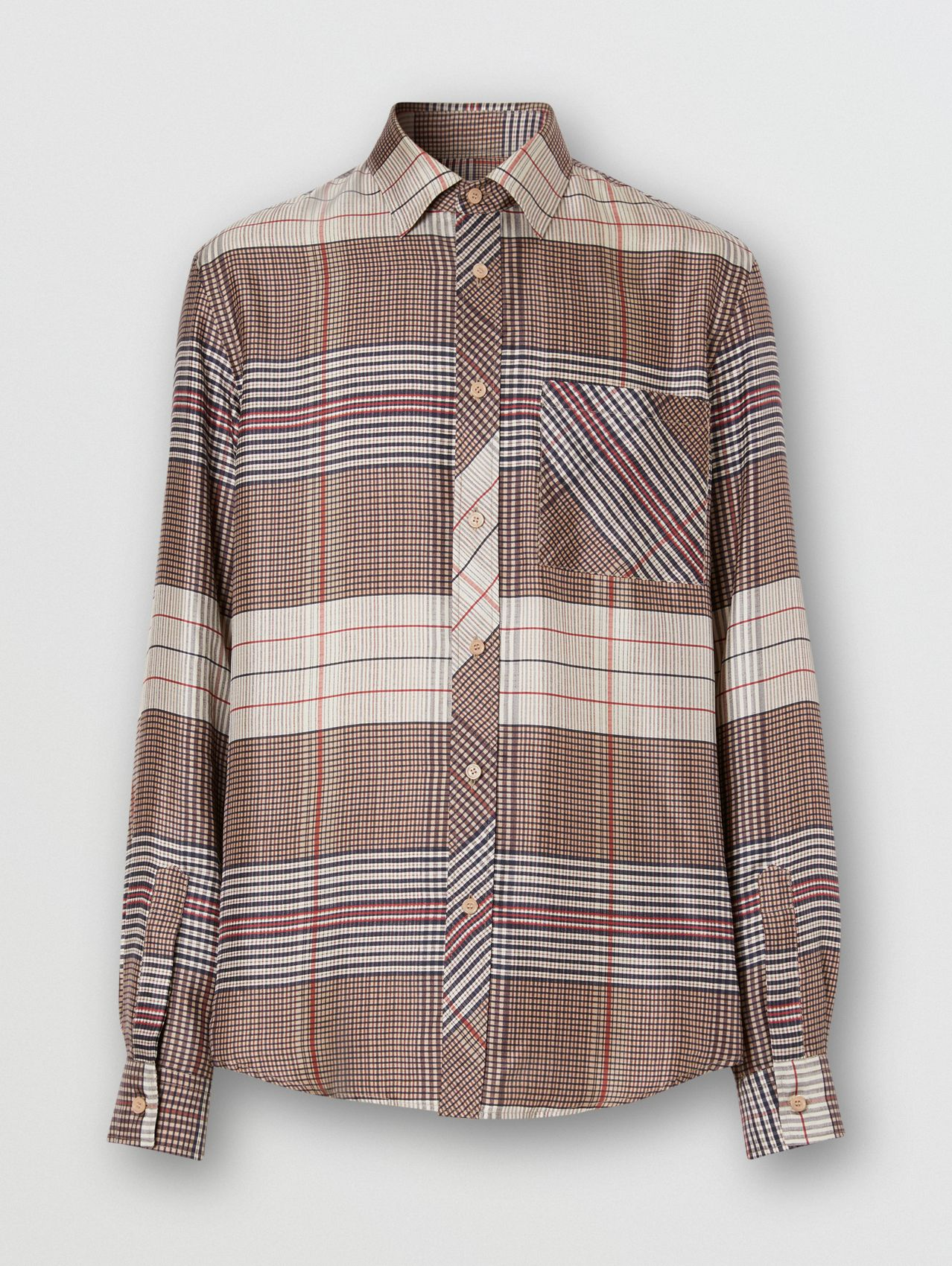 Classic Fit Contrast Check Silk Twill Shirt in Buttermilk