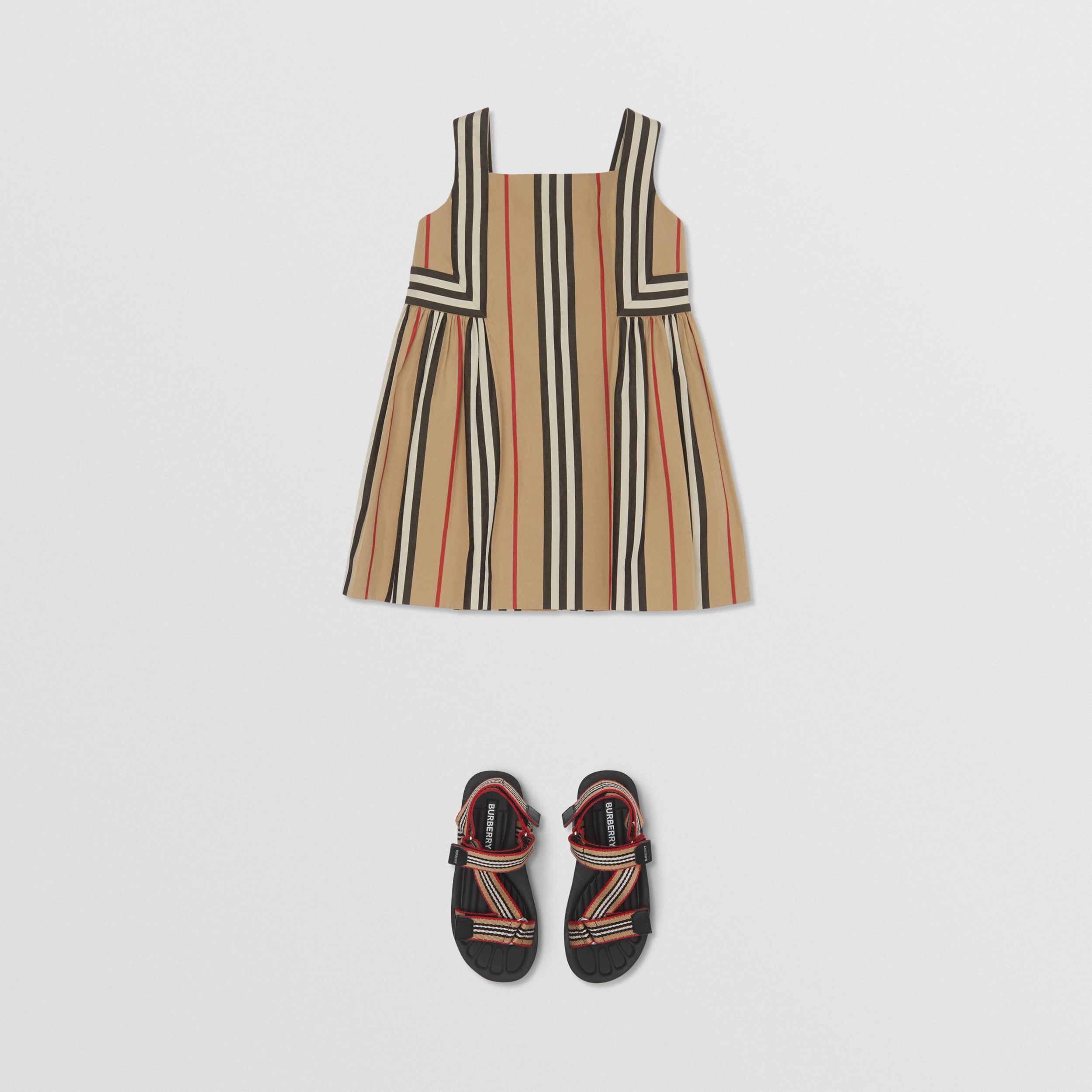Icon Stripe Cotton Poplin Dress in Archive Beige - Children | Burberry - 3