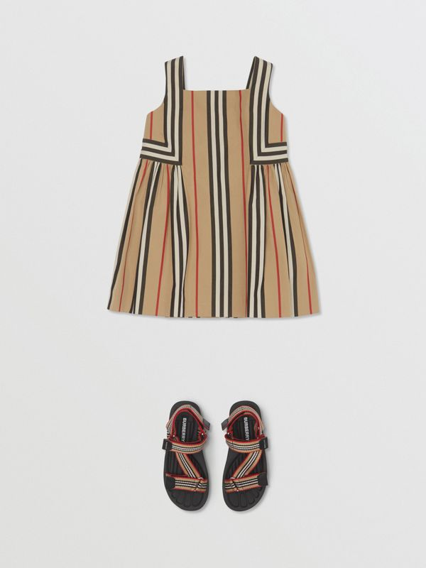 Icon Stripe Cotton Poplin Dress in Archive Beige - Children | Burberry United States - cell image 2