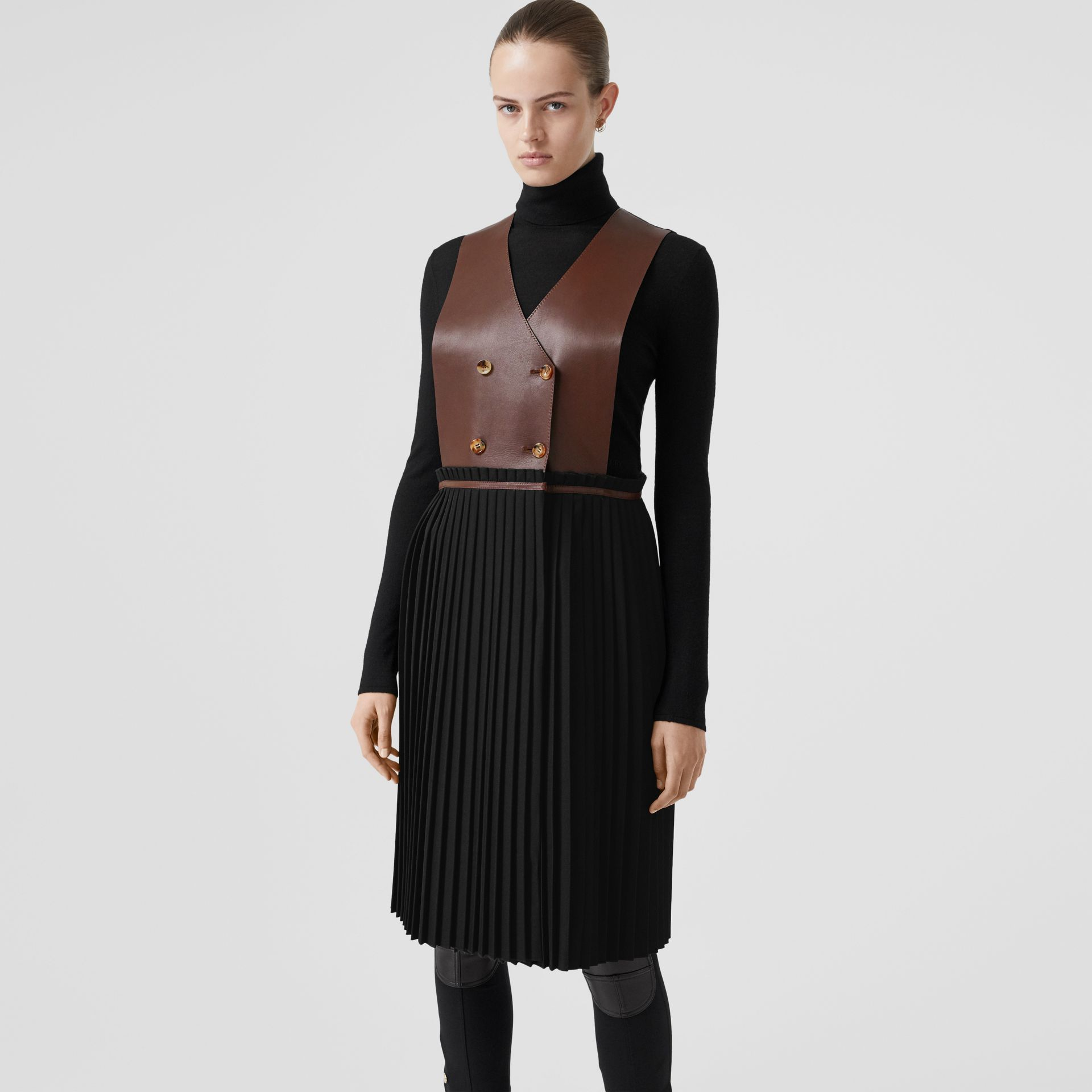 Plonge Lambskin and Wool Blend Pinafore Dress in Dark Mocha - Women | Burberry Hong Kong S.A.R - gallery image 4