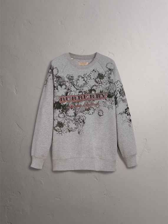 Doodle Print Jersey Sweatshirt in Pale Grey Melange - Men | Burberry Singapore - cell image 3