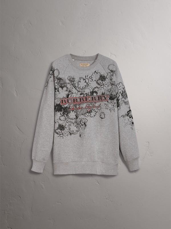Doodle Print Jersey Sweatshirt in Pale Grey Melange - Men | Burberry - cell image 3