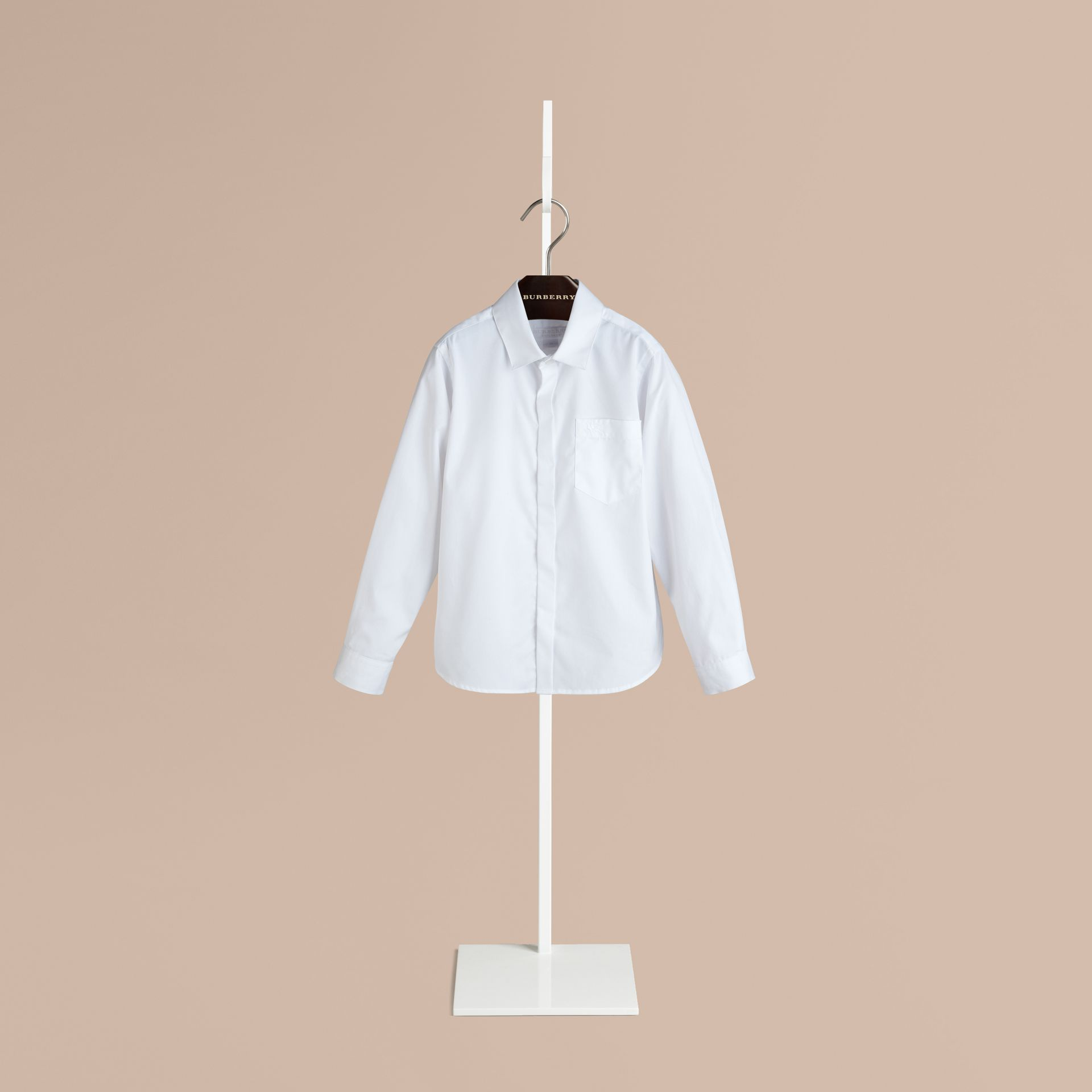 White Covered Placket Cotton Shirt - gallery image 1