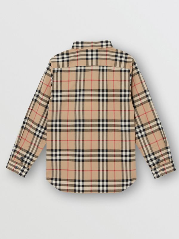 Vintage Check Cotton Poplin Shirt in Archive Beige - Boy | Burberry - cell image 3