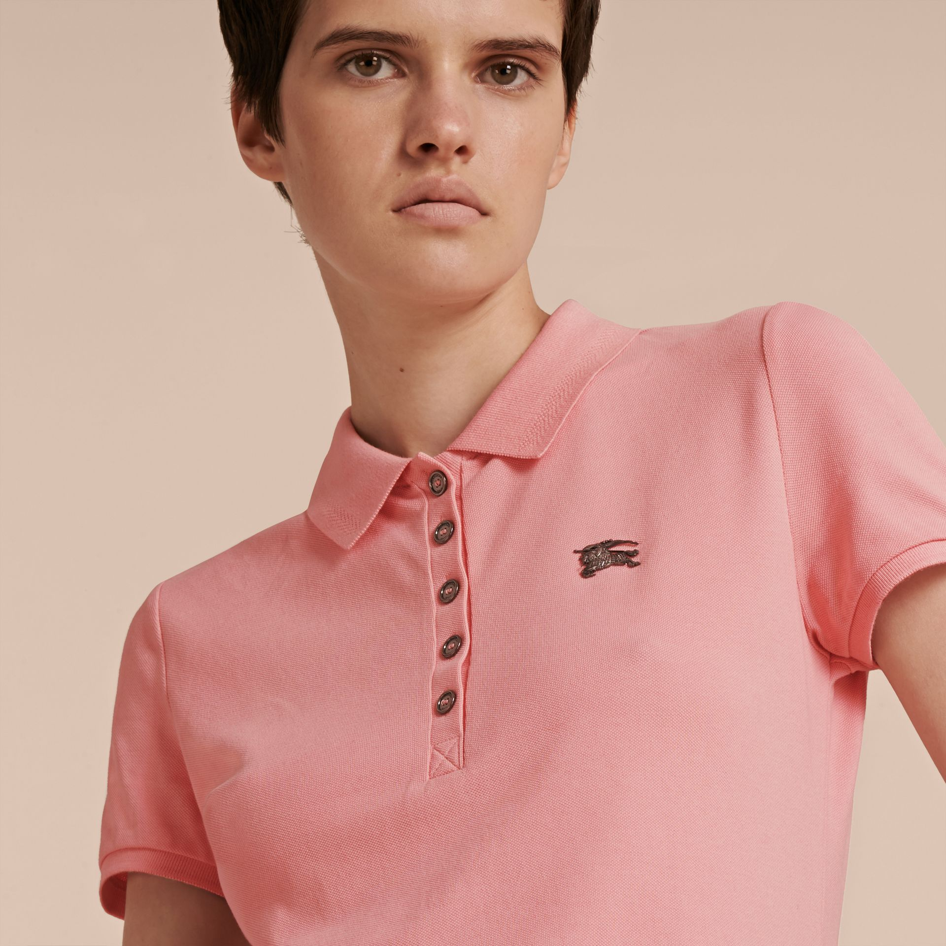 Cotton Piqué Polo Shirt in Carnation Pink - gallery image 5