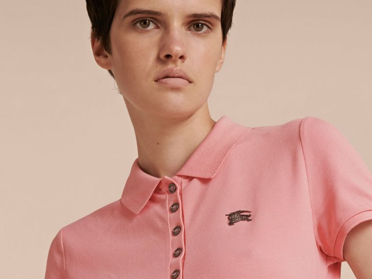 Cotton Piqué Polo Shirt in Carnation Pink - cell image 4
