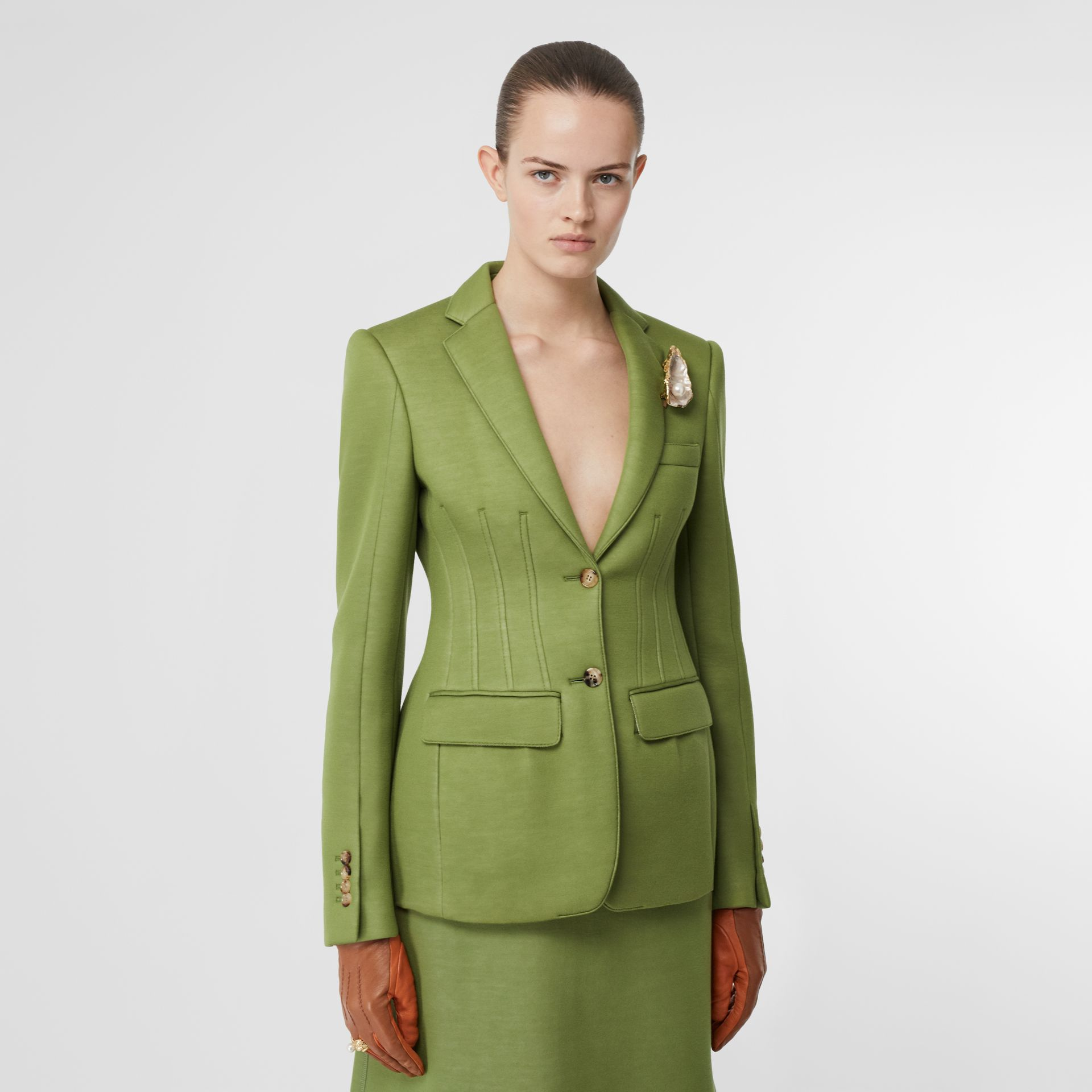 Double-faced Neoprene Tailored Jacket in Cedar Green - Women | Burberry - gallery image 4