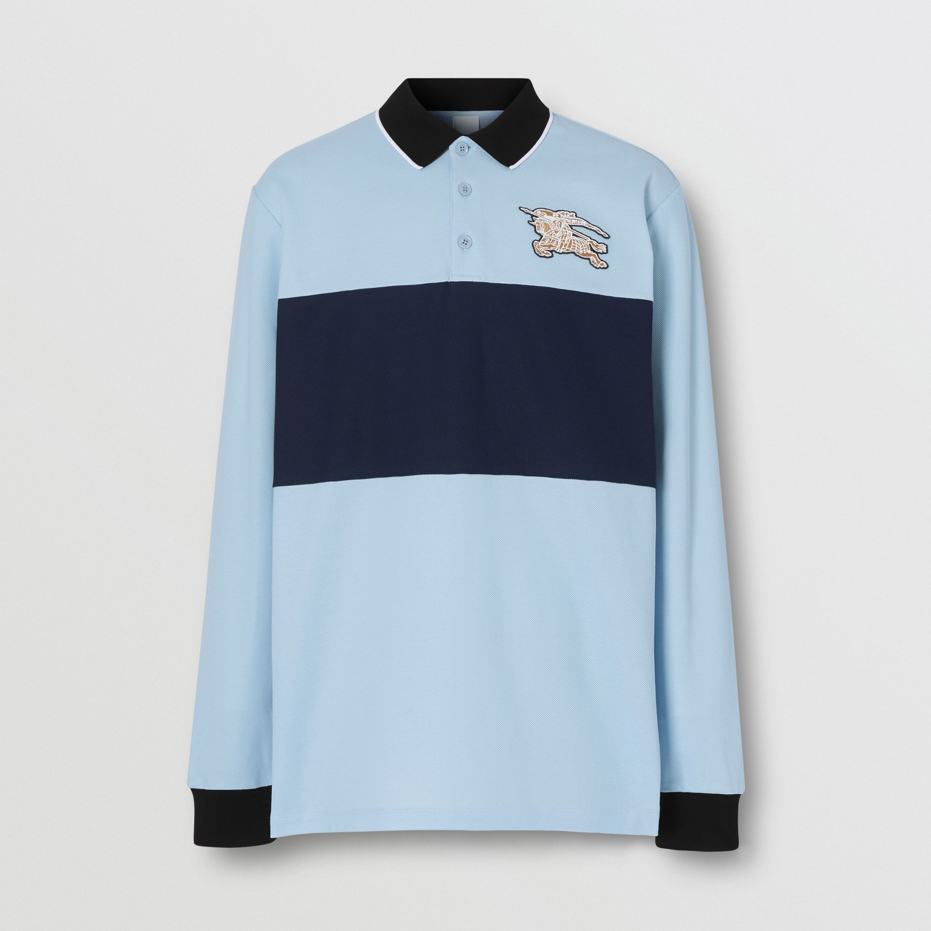 Long-sleeve Logo Graphic Cotton Piqué Polo Shirt in Pale Blue - Men | Burberry United Kingdom - gallery image 3