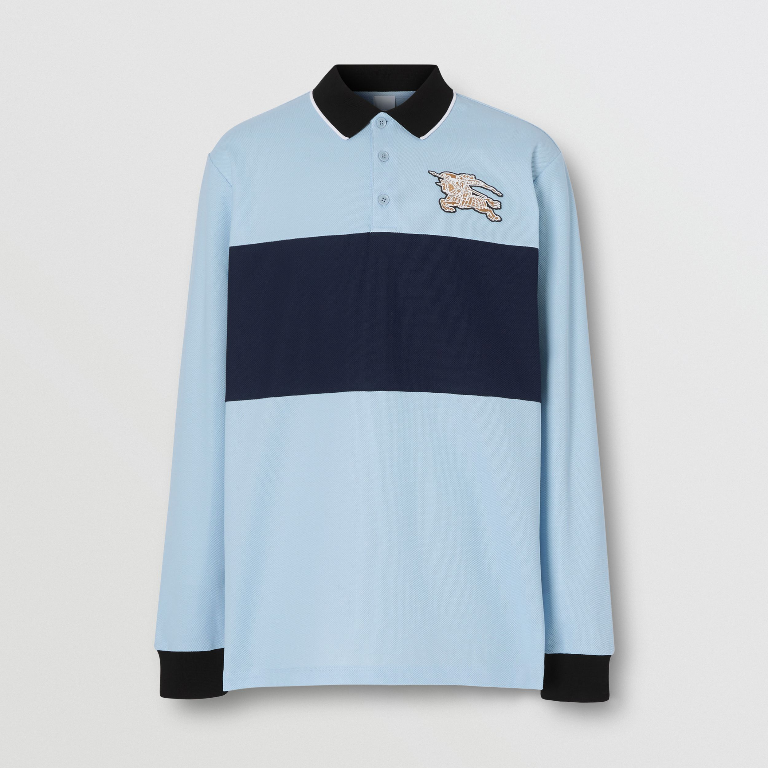 Long-sleeve Logo Graphic Cotton Piqué Polo Shirt in Pale Blue - Men | Burberry - 4