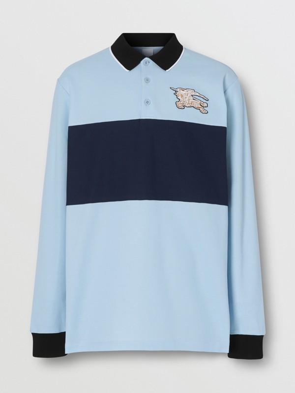 Long-sleeve Logo Graphic Cotton Piqué Polo Shirt in Pale Blue - Men | Burberry - cell image 3