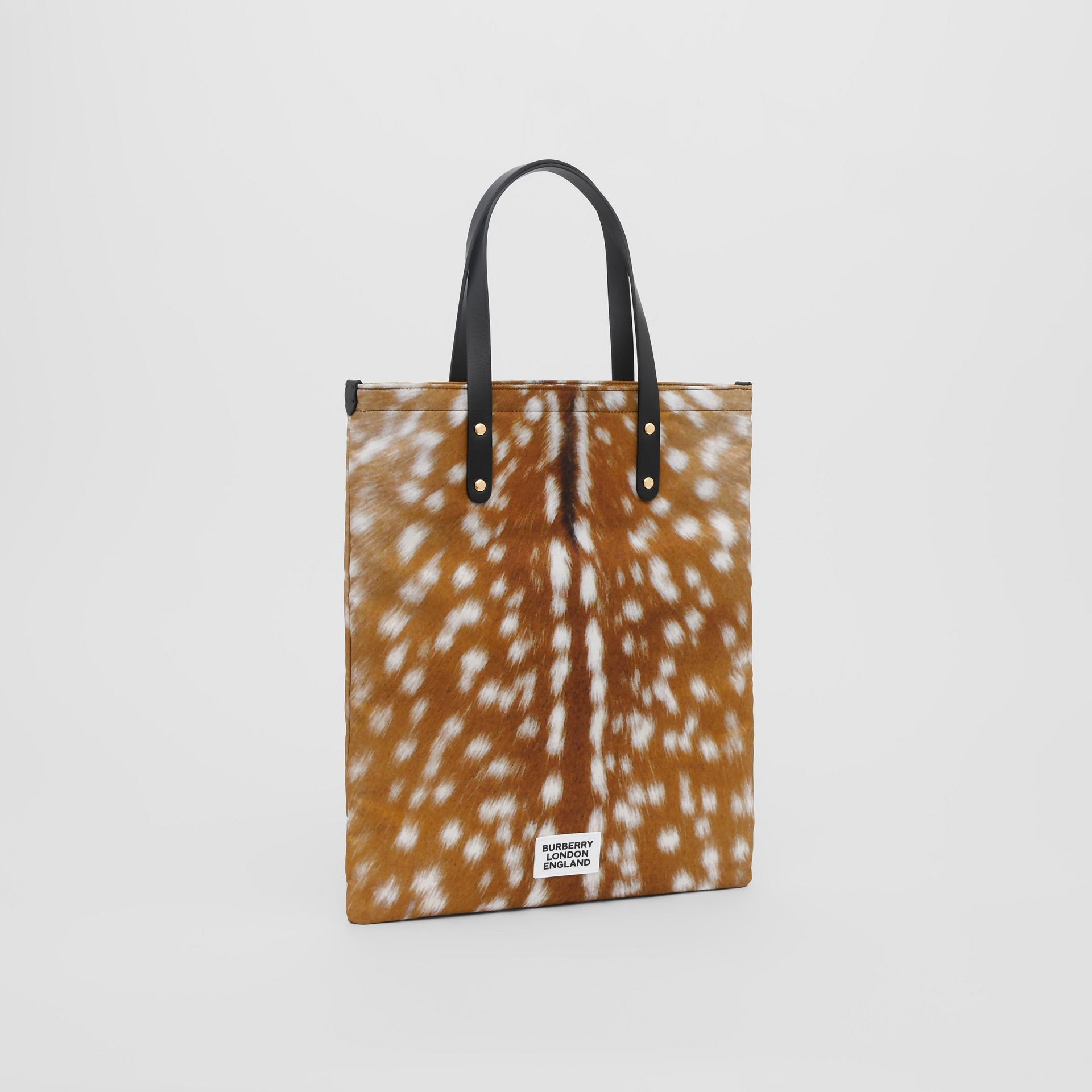 Deer Print Nylon Tote Bag in Black | Burberry - gallery image 3