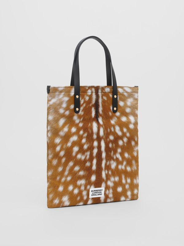 Deer Print Nylon Tote Bag in Black | Burberry - cell image 3