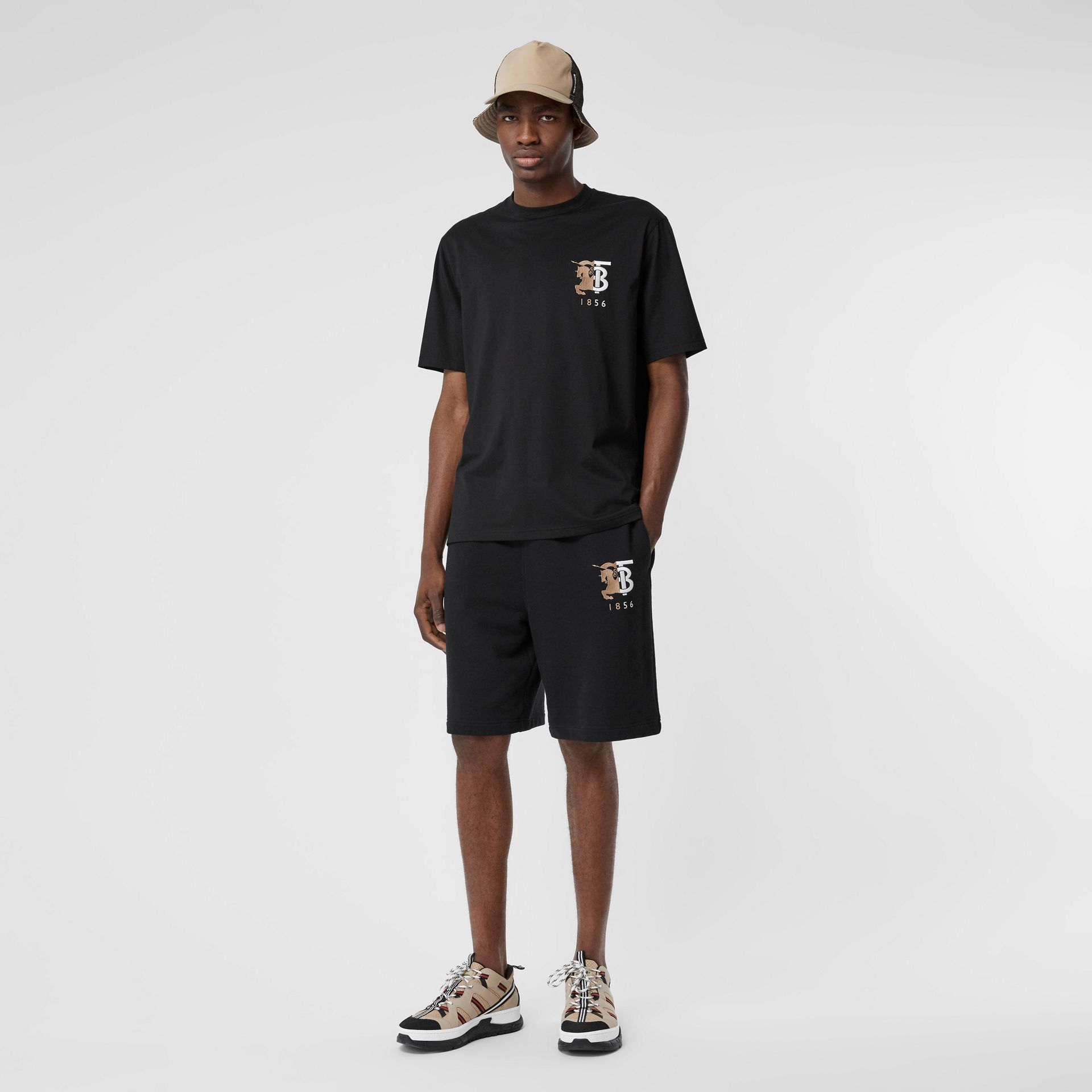 Contrast Logo Graphic Cotton T-shirt in Black - Men | Burberry Hong Kong S.A.R - gallery image 0