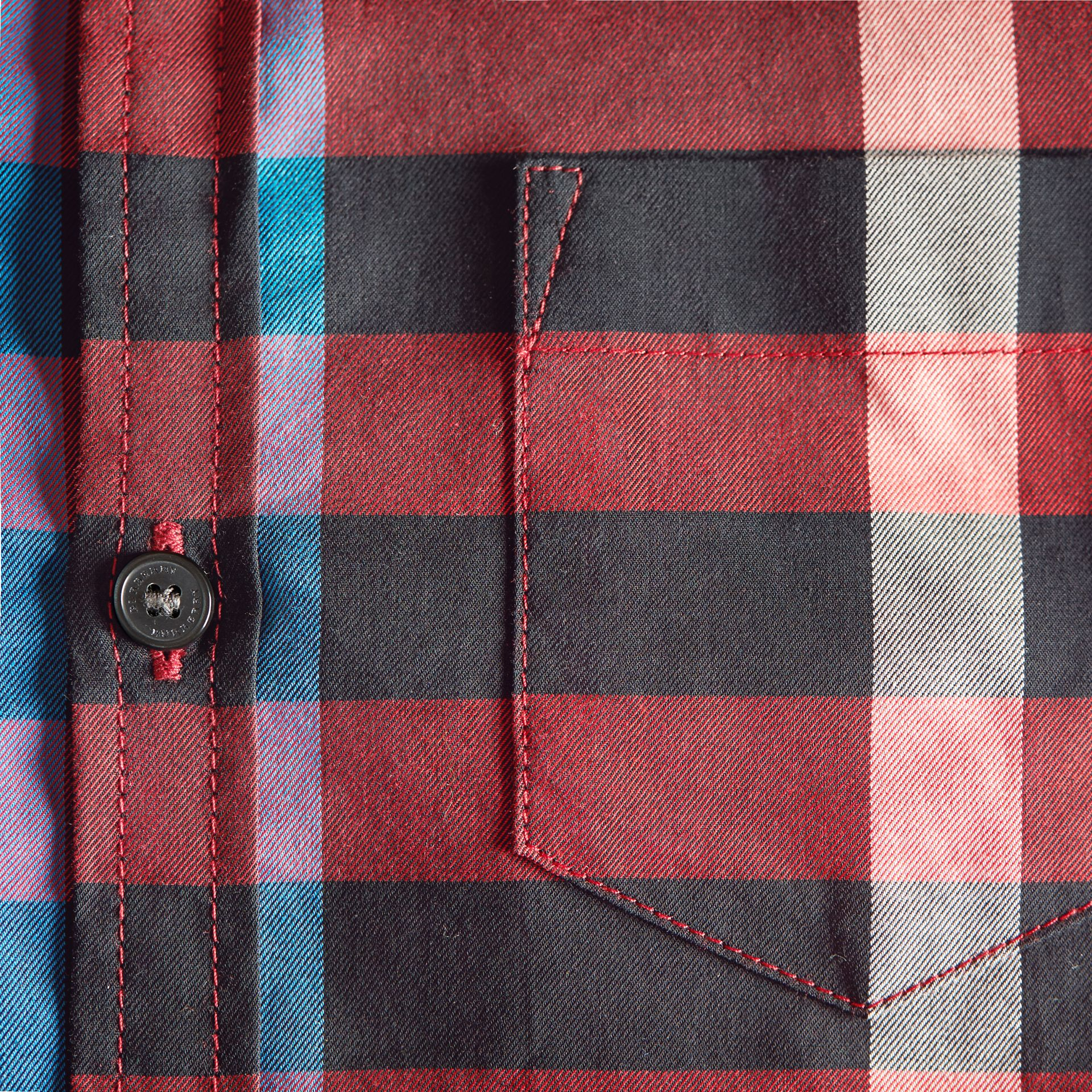 Check Cotton Button-Down Shirt in Carmine Red - Boy | Burberry Canada - gallery image 2