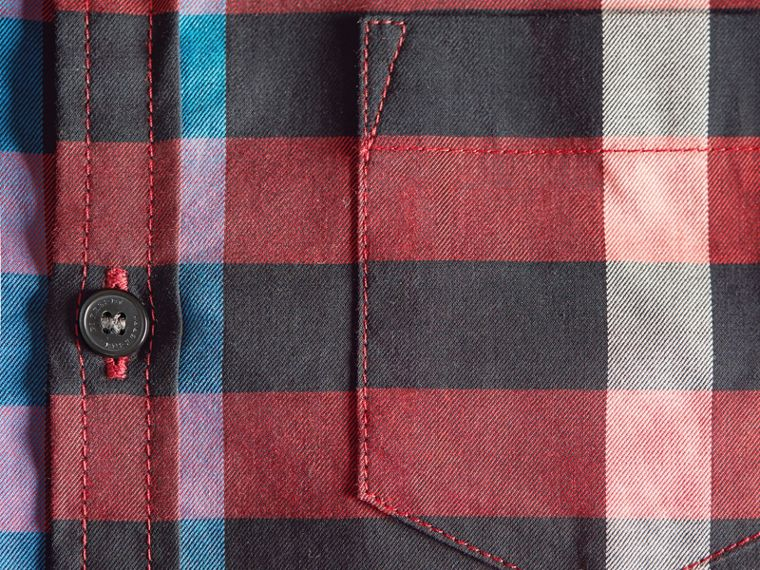 Check Cotton Button-Down Shirt in Carmine Red - Boy | Burberry Hong Kong - cell image 1