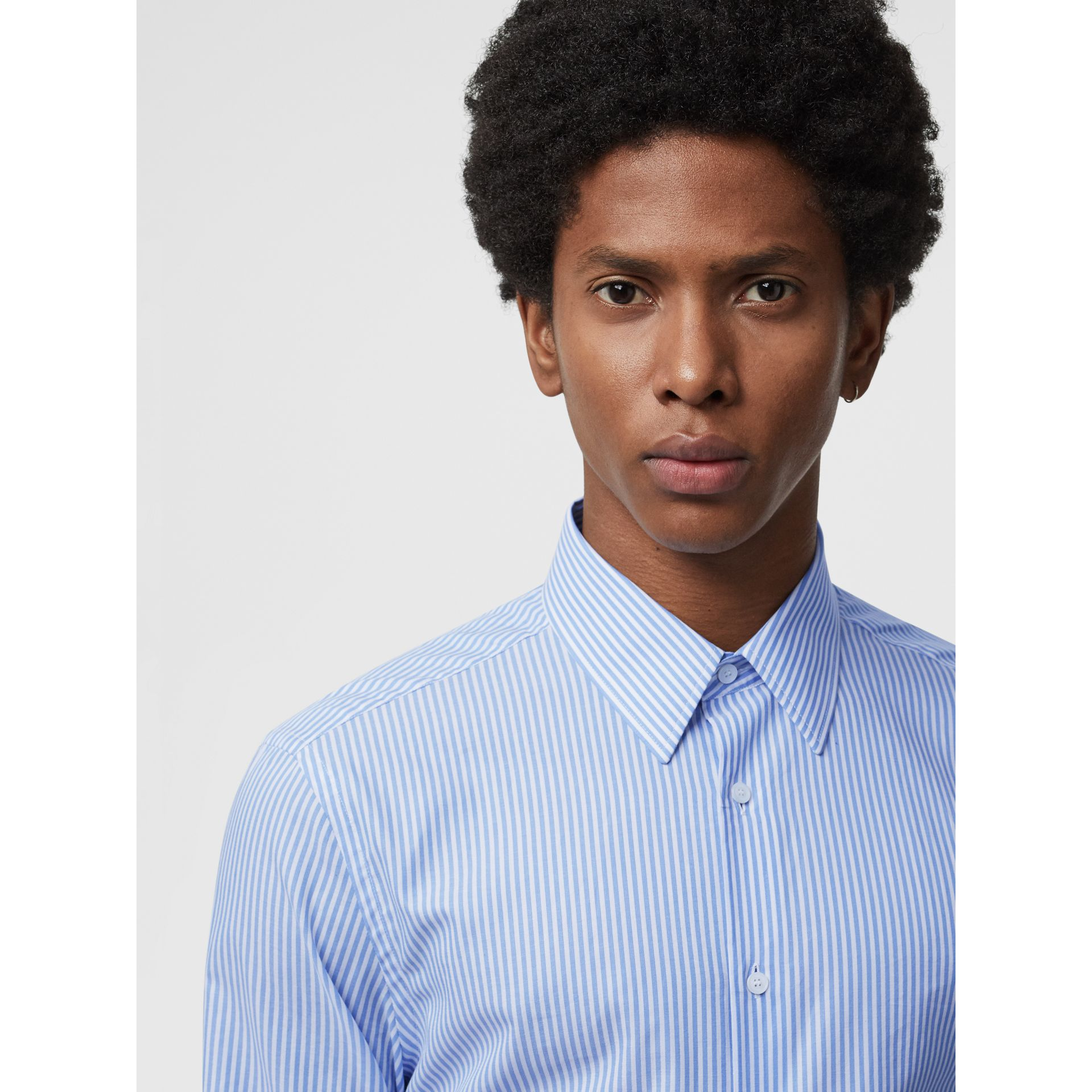 Slim Fit Striped Cotton Shirt in Mid Blue Stripe - Men | Burberry Australia - gallery image 1