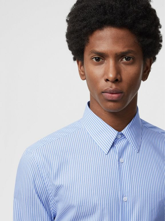 Slim Fit Striped Cotton Shirt in Mid Blue Stripe - Men | Burberry Australia - cell image 1
