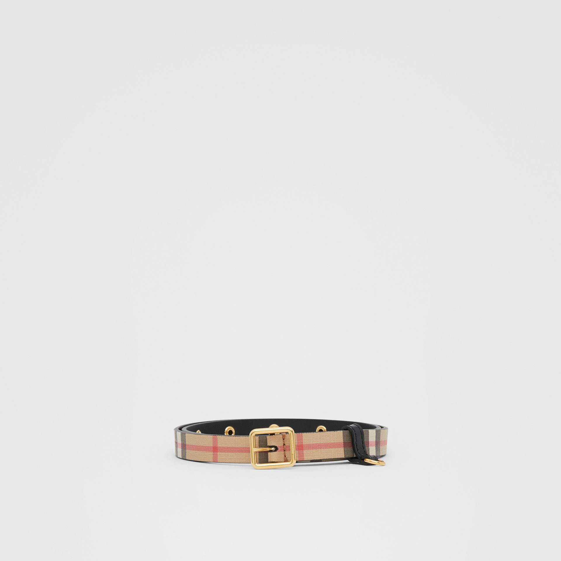 D-ring Detail Vintage Check E-canvas Belt in Black - Children | Burberry - gallery image 0