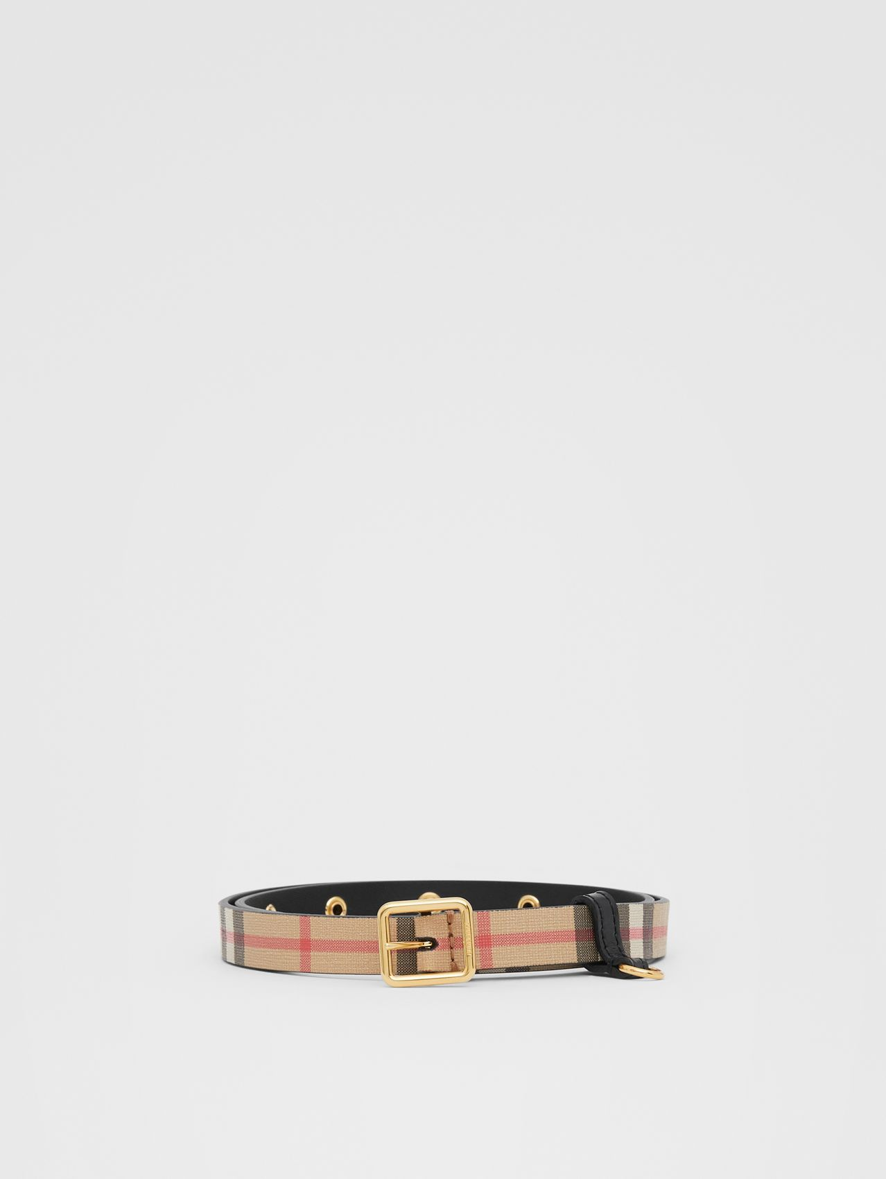 D-ring Detail Vintage Check E-canvas Belt in Black