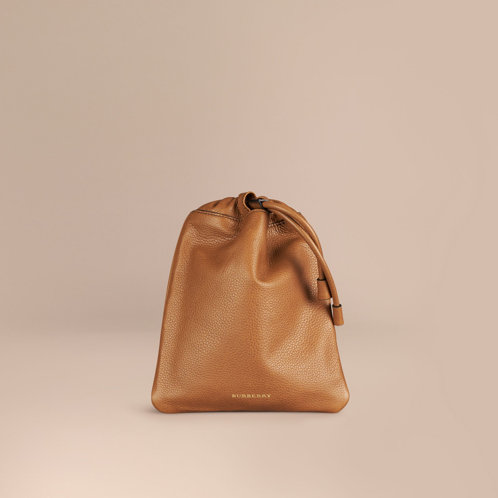 Tan Grainy Leather Drawstring Pouch Tan - gallery image 1