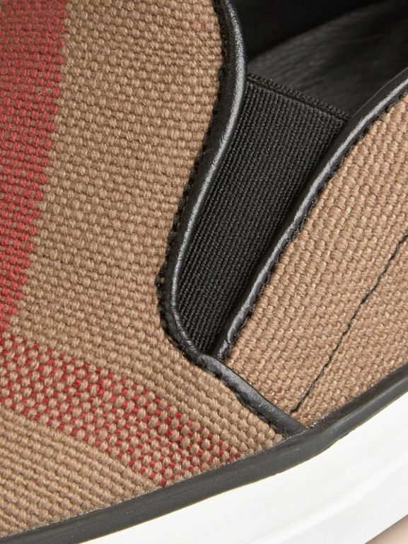 Check Slip-On Trainers in Black - Women | Burberry - cell image 1
