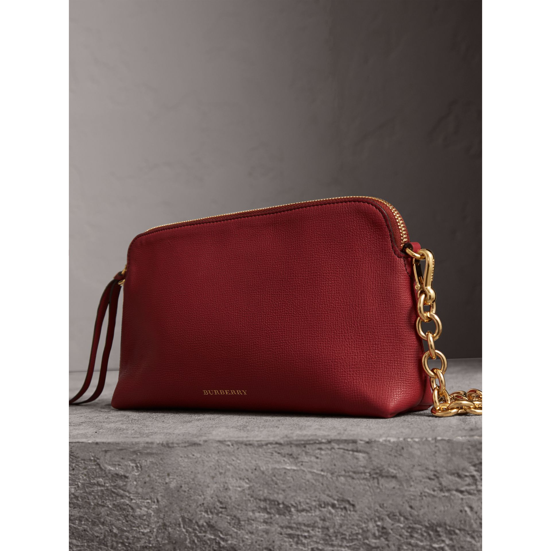 Grainy Leather Clutch Bag in Russet Red - Women | Burberry - gallery image 7
