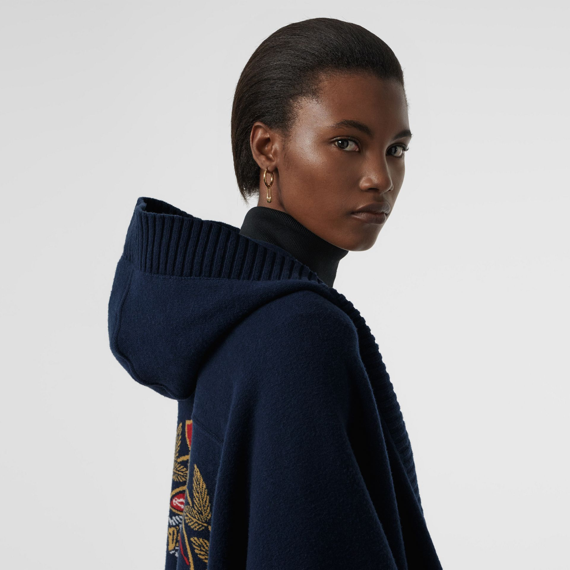 Crest Wool Blend Jacquard Hooded Cape in Navy - Women | Burberry - gallery image 1